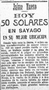 Remate en Sayago El Siglo 20 de Noviembre de 1910